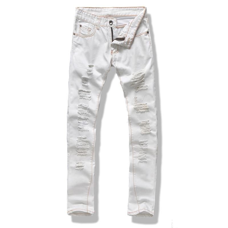 ce88dc4b70b Men White Jeans Designer Slim Fit Ripped Jeans Men Hi Street Mens ...