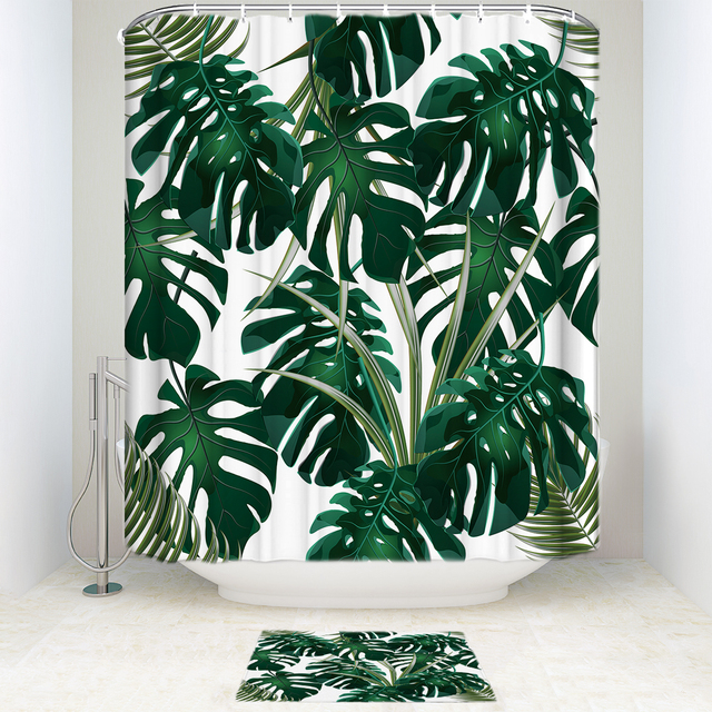 Memory Home Tropical Palm Leaves Printed Shower Curtain Set ...