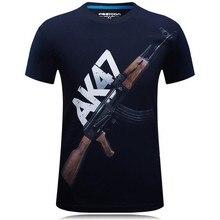 プラスサイズ6xl新しい夏ak47銃3d面白いtシャツプリントメンズカジュアル半袖tシャツ綿oネックメンズパンクトップス