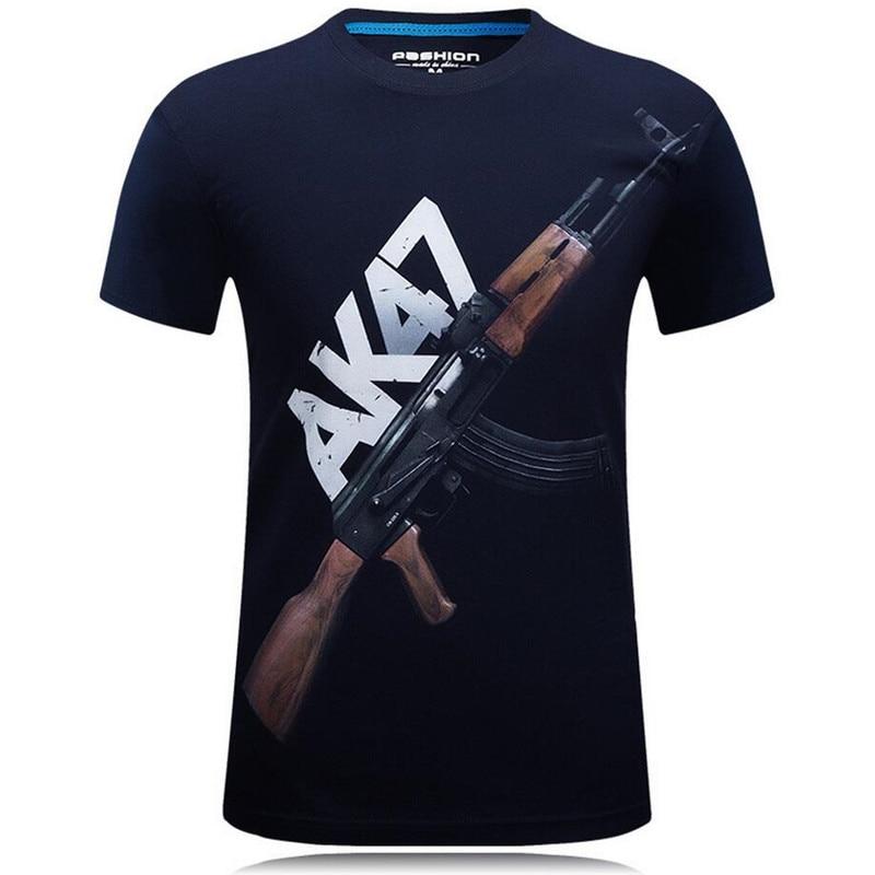 Plus Size 6XL Ny Sommer AK47 Pistol 3d Morsomme T-skjorter Trykt - Herreklær