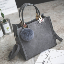 Hot sale handbag women casual tote bag female large shoulder messenger bags high quality PU leather handbag with fur ball bolsa