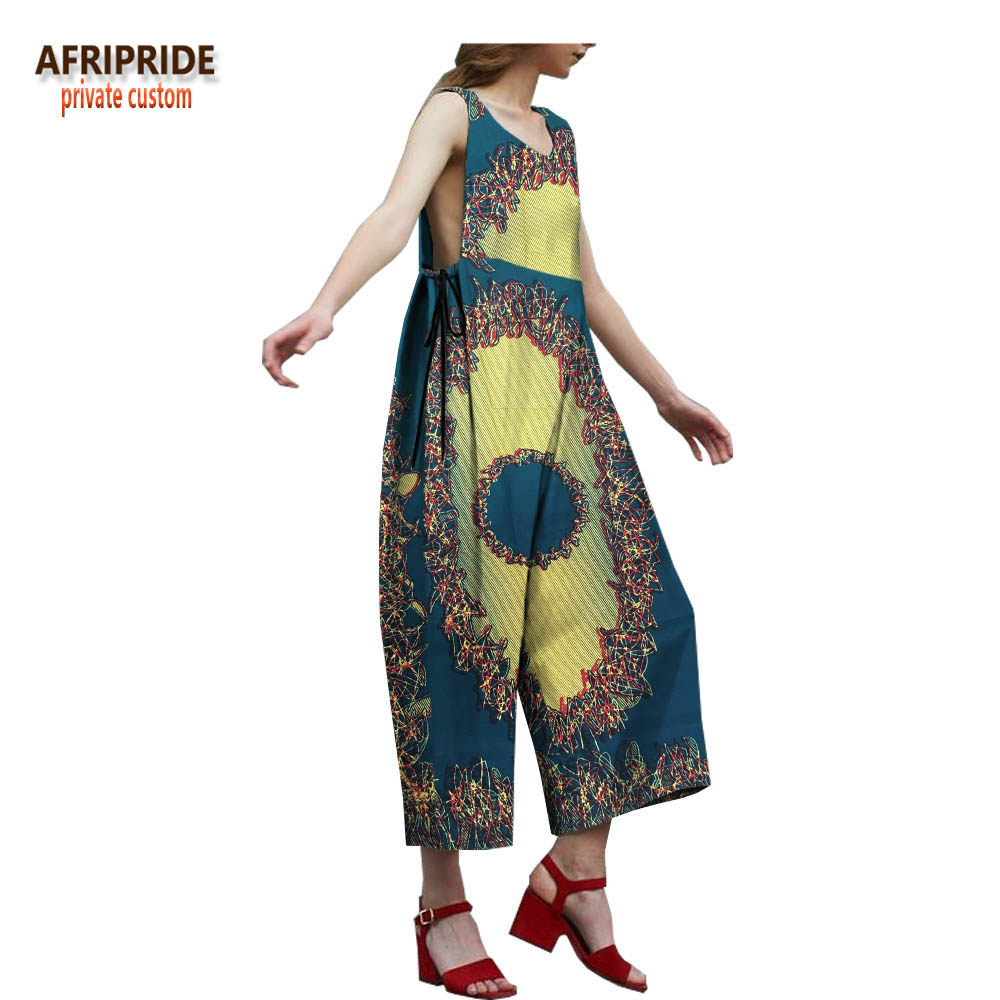 2018 spring women jumpsuit AFRIPRIDE customzied sleeveless wide leg casual for A1829003