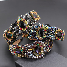 Diadema de flores grandes geométricas con diamantes de imitación cosidos a mano, bandana de flores pequeñas, diadema de lujo para discoteca 859