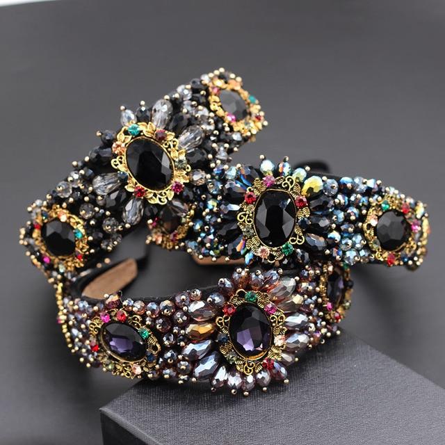 Hand stitched rhinestone geometric large flower drop headband large flower small particles luxury nightclub headband 859