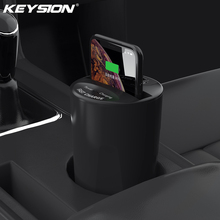KEYSION 10W 7.5W Fast Qi Wireless Charger for iPhone XS Max XR X Car Cup Holder Charging Stand S9 S8 S7 Note 9  Mate 20 Pro