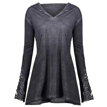 Gothic Casual Shirt Elegant Women Loose Cotton Hooded Gray Top 4 Colors