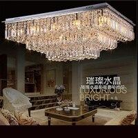 Роскошный простой кристалл потолочный светильник современная мода Гостиная кристалл освещение прямоугольный светодиодный Спальня рестор