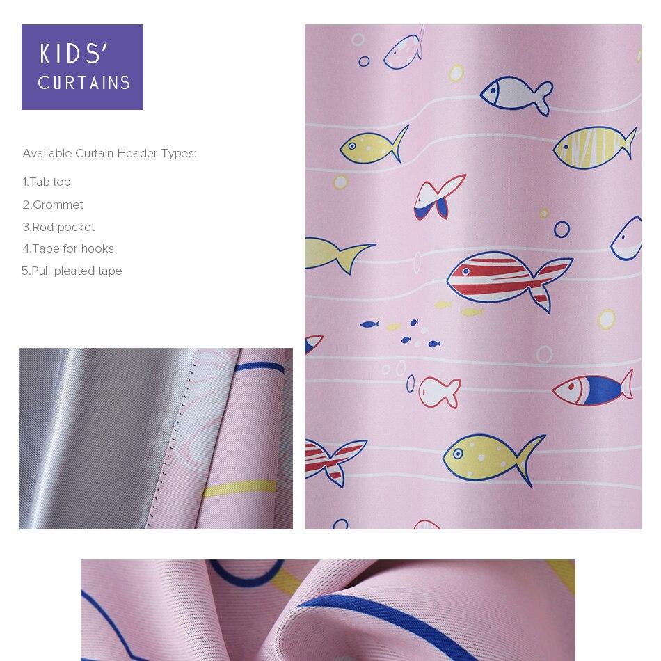 Детская Розовая Занавеска с мультяшными рыбками, занавеска для окна, занавеска для маленькой принцессы, затемненная занавеска для гостиной, спальни, детской комнаты