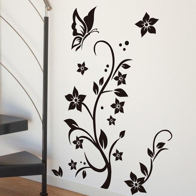 shijuehezi] black flower vine wall stickers vinyl diy butterflies