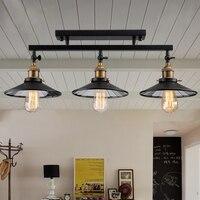 Fashion vintage loft DIY black iron ceiling light home deco mirror glass lampshade 3*E27 Edison bulb dining room ceiling lamp
