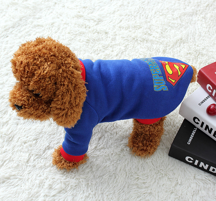 Pet Dog Puppy Cotton Superman Pakaian, Halloween Pakaian Kostum - Produk hewan peliharaan - Foto 3