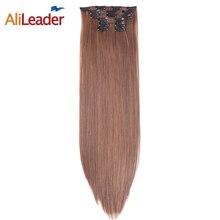 """Alileader продукты 16 клип в наращивание волос коричневый Цвет 6 шт./компл. 140 г 22 """"Длинные прямые Синтетические волосы штук для Свадебные"""