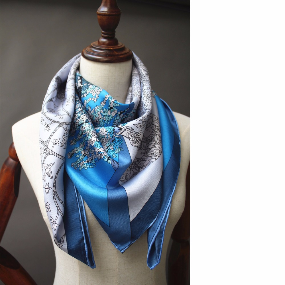 Fashion Print Large Square Silk   Scarf   Shawl 90 100% Silk Twill Scarfs   Wraps   Foulard 88x88cm High Style Hand Rolled Edges
