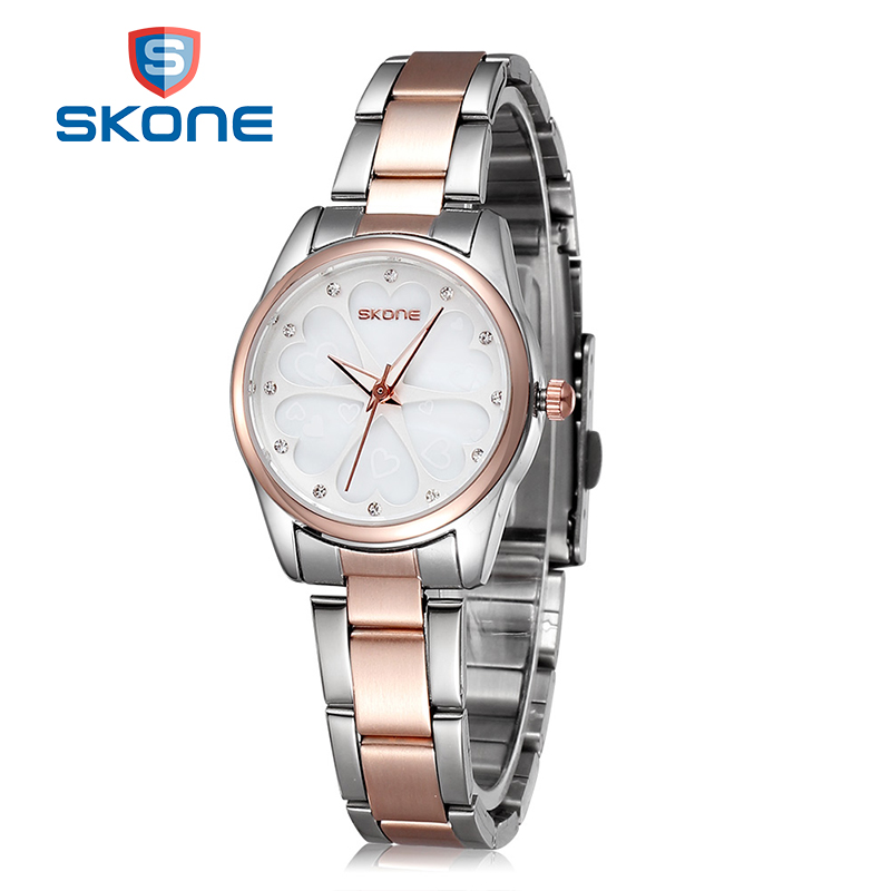 SKONE Luxury Women Watch Full Steel Bracelet Rose Gold Watches Female Fashion Casual Quartz Watch Lady Wristwatch Montre Homme geneva brand fashion rose gold quartz watch luxury rhinestone watch women watches full steel watch hour montre homme reloj mujer