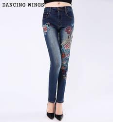 Феникс вышитые джинсы середине талии хлопок стрейч тонкий тонкие брюки темно-синие Femme промывают повседневные обтягивающие узкие брюки