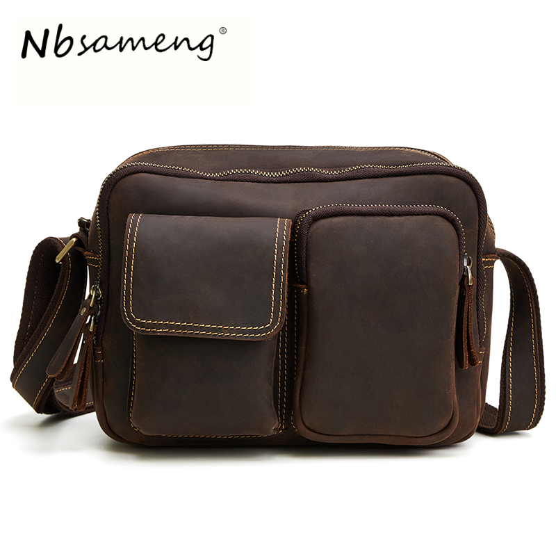 NBSAMENG 2018 Brand Vintage Genuine Crazy Horse Leather Cowhide Men Men's Messenger Bag Shoulder Crossbody Bags Handbags For Man contact s brand 2018 hot genuine crazy horse cowhide leather men messenger bag high quality shoulder bag for vintage travel bag