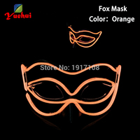 Orange Glowing Sound Activated Halloween New Fox Mask EL Wire Masks LED Glowing Party DJ Dance