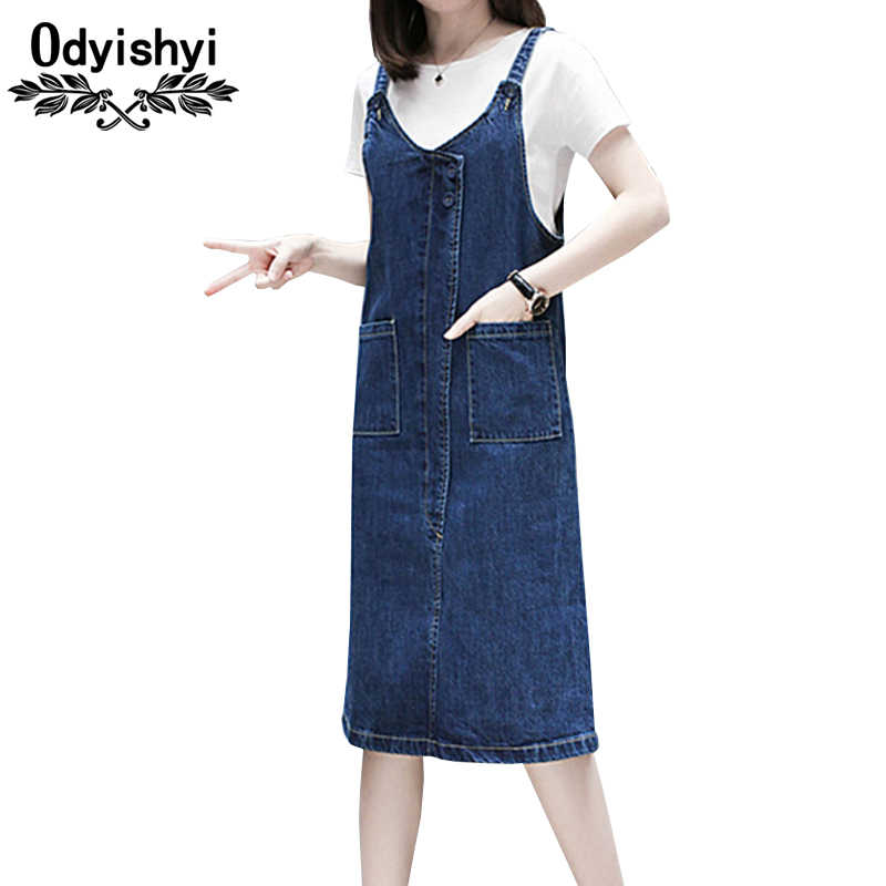 New Summer Denim Dress Women 2019 Plus Size Cotton Dress Jeans Pocket Loose  Casual 2pcs Set 500d2f73e7bf