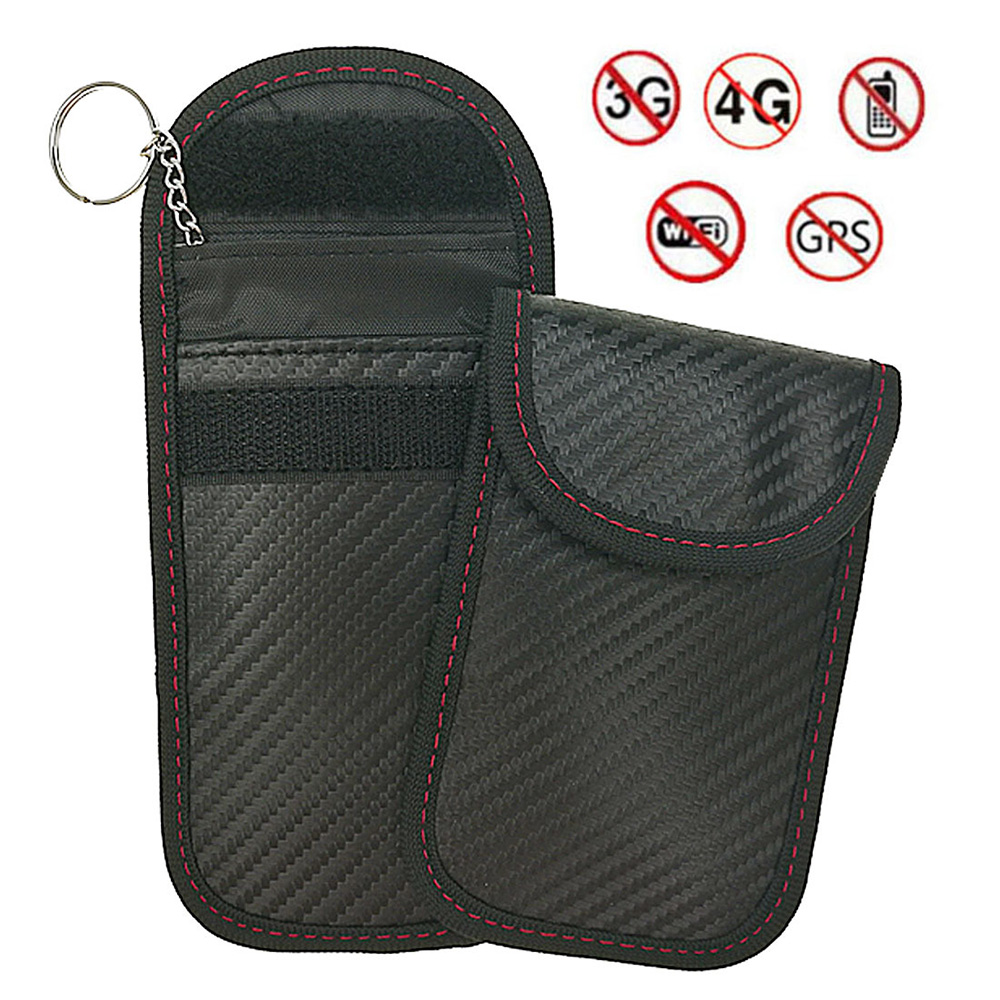 1Pcs Car Key Bag Car Fob Signal Blocker Faraday Bag Signal Blocking Bag Shielding Pouch Wallet Case For Privacy Protection(China)