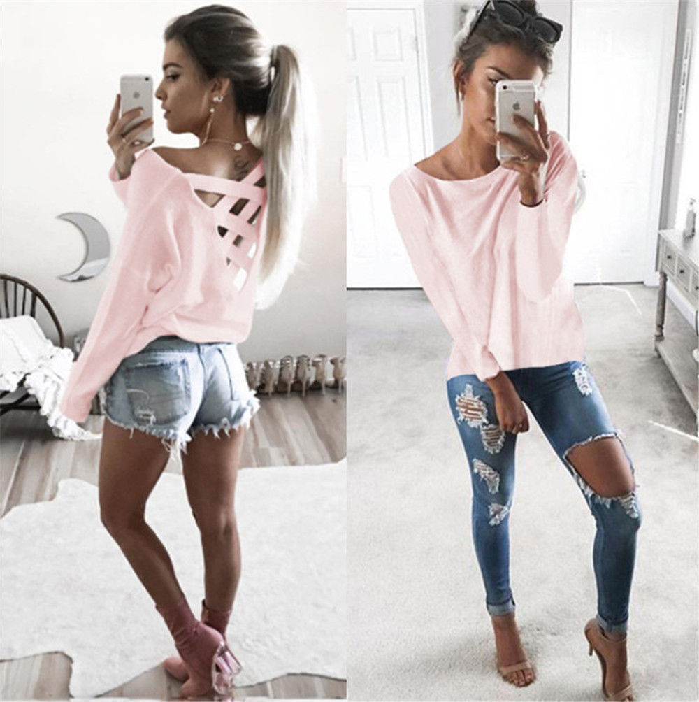 New Women's Loose Long Sleeve Top, Summer Back Cross T-Shirt, Casual, Cotton T-Shirt 4