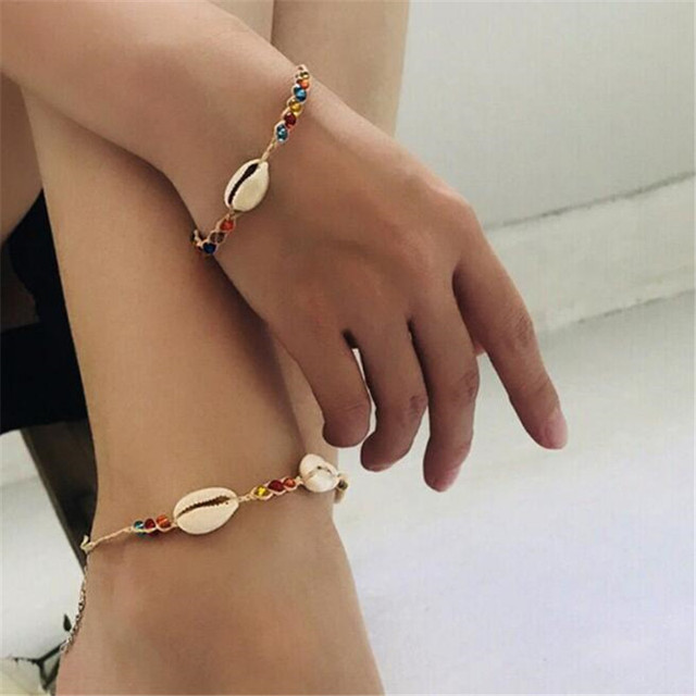 MissCyCy Boho Colorful Beads Leg Bracelets for Women Vintage Natural Shell Anklet Summer Style Beach Accessories Foot Jewelry