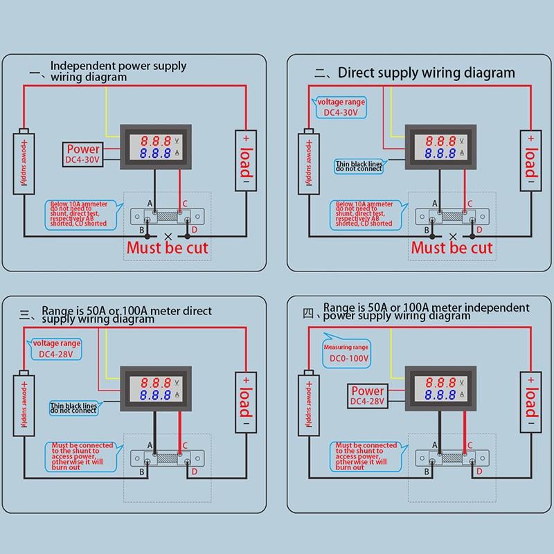 For 0 100V/50A Red Blue Digital Voltmeter Ammeter 2in1 DC Volt Amp ...