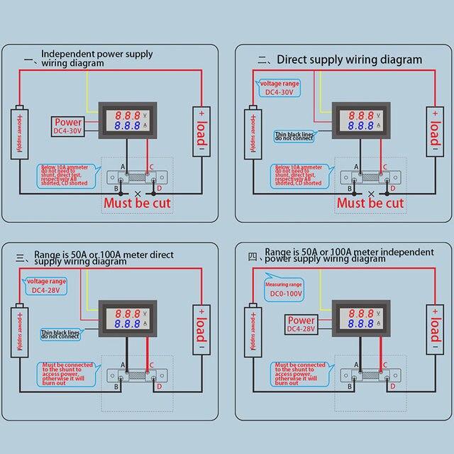 Online Shop For 0-100V/50A Red Blue Digital Voltmeter Ammeter 2in1 ...