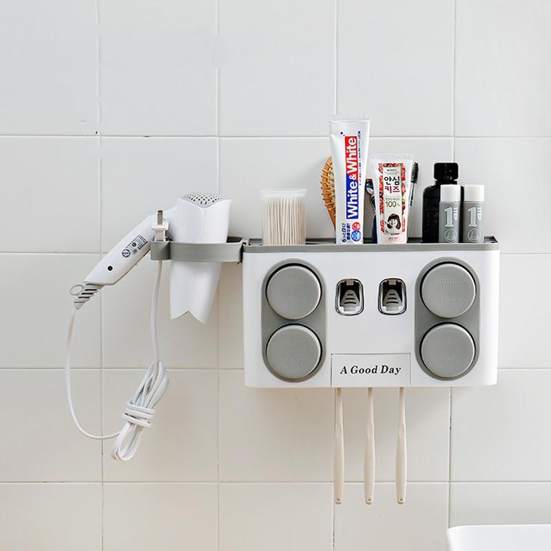 Salle de Bains Accessoires Brosse À Dents Titulaire Distributeur Automatique de Dentifrice Ventouse Montage Mural Salle De Bains Boîte De Rangement