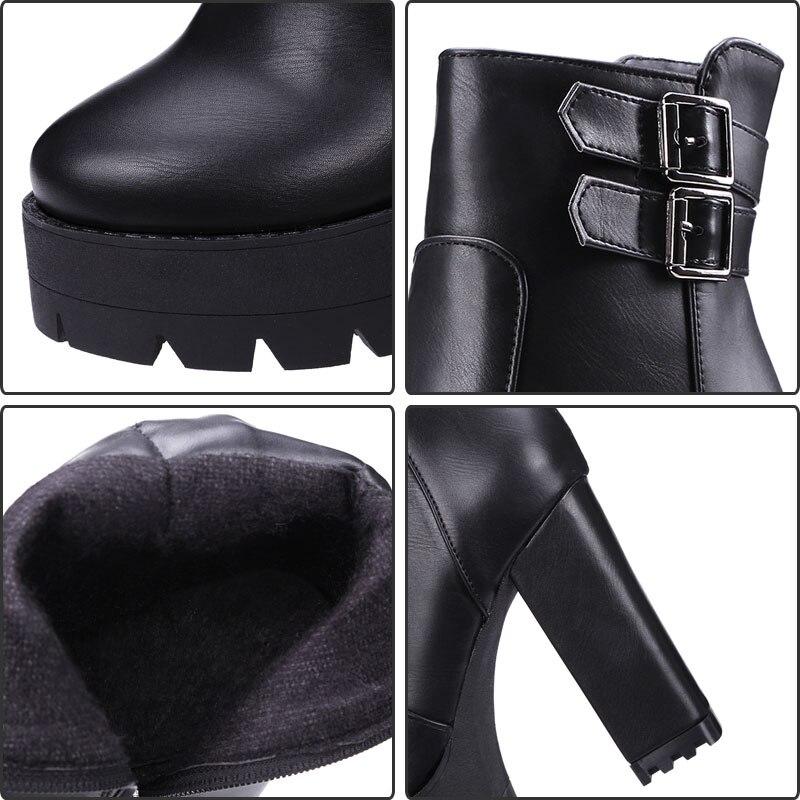 Fanyuan 2018 Ultra Sexy zapatos de tacones altos mujer punta redonda corta  montar botas de tacón grueso Plataforma de las mujeres zapatos de tobillo  botas ... fe58b2de2dac