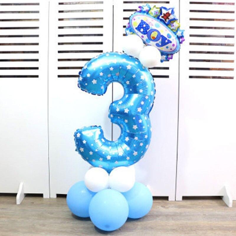 32-дюймовый Цифровой шар детское платье для дня рождения с рисунком надувной детский День рождения украшения вечерние шляпа воздушный шар для колонны игрушка - Цвет: Blue number 3