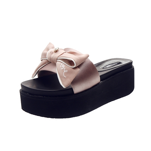 8b8926131363f Brand Ribbon Butterfly-knot Decoration Platform Sandals Silk Slip On Shoes  Women Crystal Wedges Slides ladies Summer beach shoes