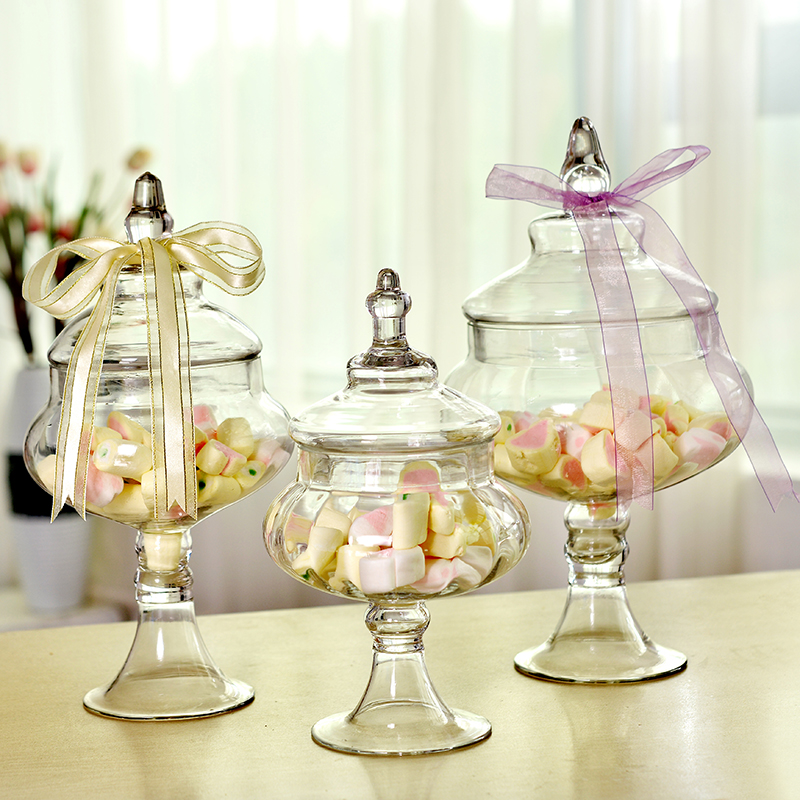 European Style Transparent Glass Bottles Dust Proof Lid