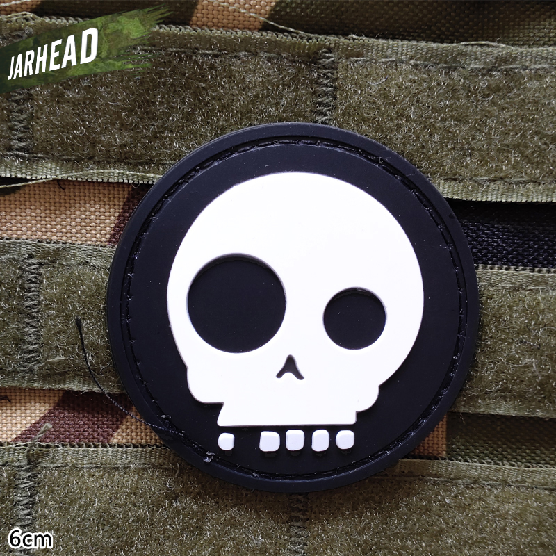 Big Eyes Skulls Military Pvc Patches Velcro Rubber Armband Tactical Badge Personality For Backpack Hat Clothes Jacket