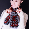 Cute rose flower rex rabbit fur women scarf 2 colors soft warm ladies girls winter scarves best gifts for lover friends