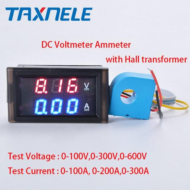 0.28  LED DC Digital Voltage Current Meter LCD 100V 300V 600V.100A 200A 300A Voltmeter Ammeter with Hall Transformer