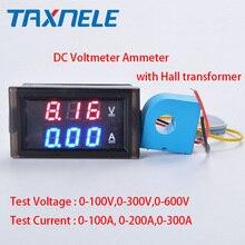 0.28 LED compteur de courant de tension numérique cc LCD 100V 300V 600V.100A 200A 300A voltmètre ampèremètre avec transformateur Hall