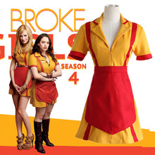 Max&Caroline cosplay costumes American TV show 2 Broke Girls clothes Catering uniforms(dress+apron)