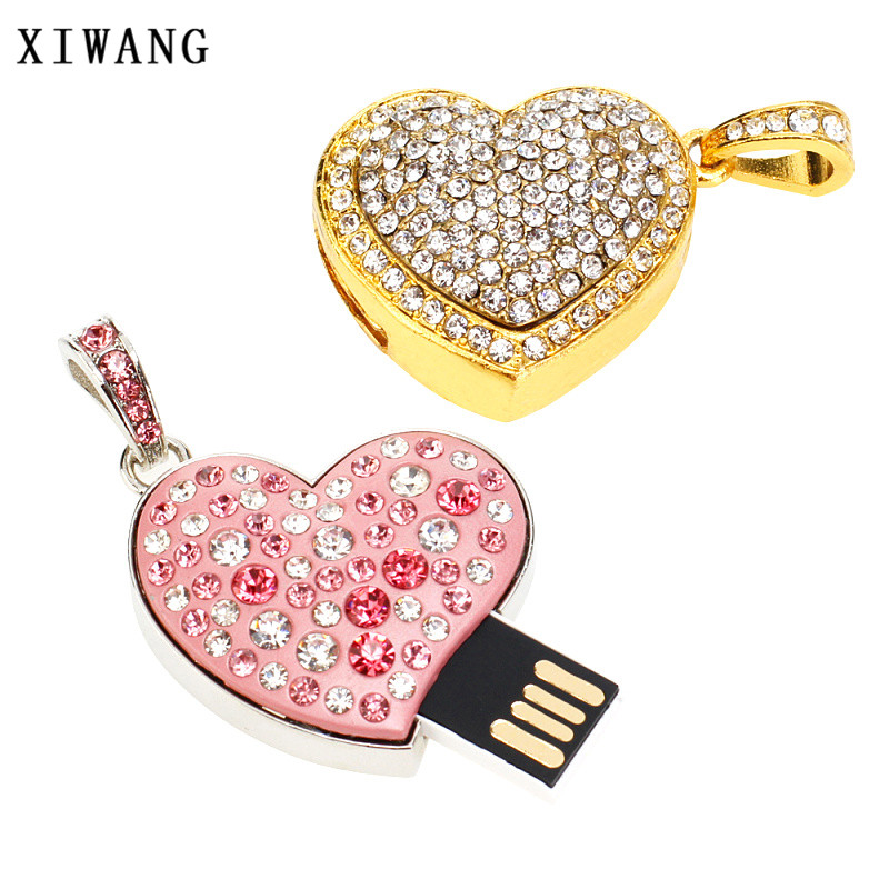 Image 2 - Usb flash drive 32gb diamond crystal necklace pen drive 128GB 64GB 16GB 8GB 4GB usb stick metal couple love gift free shipping-in USB Flash Drives from Computer & Office