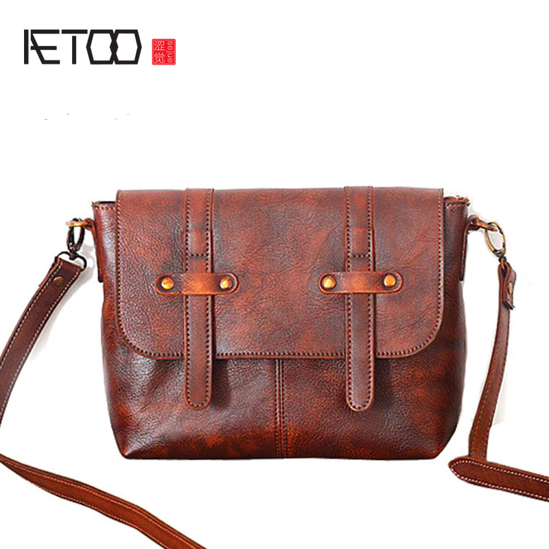 AETOO New leather handbags ladies first layer of leather shoulder Messenger bag retro retro tanned handmade bag aetoo leather men bag new retro first layer of leather handbag large capacity vegetable tanned leather shoulder bag