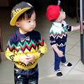 Children's wear Autumn winter college sweater little baby boy cashmere sweater boys fashion wave print cute bowknot sweaters
