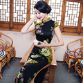 Big Discount Black Chinese Tradition Women's Silk Long Qipao Cheong-sam Wedding Evening Dress S M L XL XXL XXXL