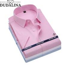 Dudalina Camisa, мужская рубашка, короткий рукав, мужская рубашка, брендовая одежда, повседневная, облегающая, Camisa Social Masculina Chemise Homme, без карманов