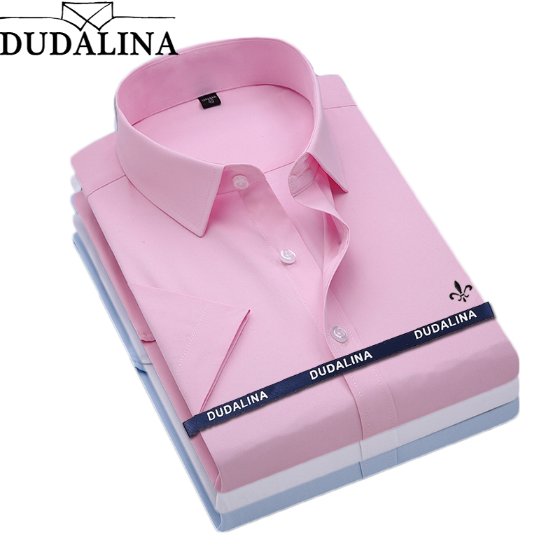 Dudalina Camisa Male Shirt Short Sleeve Men Shirt Brand Clothing Casual Slim Fit Camisa Social Masculina Chemise Homme No Pocket