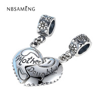 Authentic 925 Sterling Silver Bead Charm Vintage Mother Daughter Heart Pendant Bead Fit Pandora Bracelet Bangle