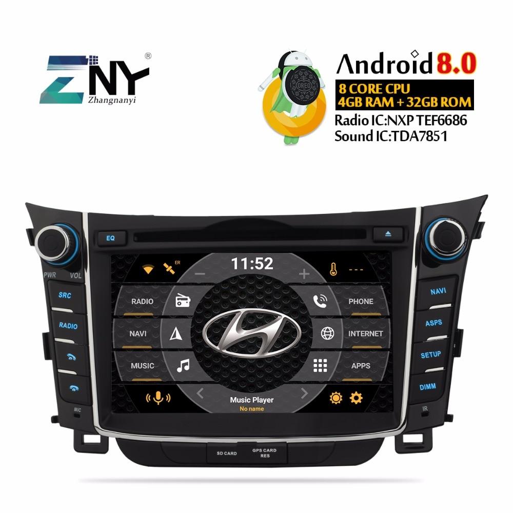 Android 8.0 Voiture Radio 2 Din GPS Navigation Pour Hyundai I30 Elantra GT 2011-2016 7 IPS DVD multimédia Audio Vidéo Stéréo 4 + 32 GB