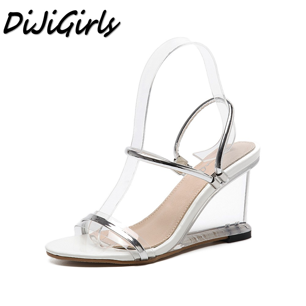 DiJiGirls New summer women gladiator sandals ladies pumps wedges shoes woman Crystal Clear Transparent casual high heels shoes new women gladiator sandals ladies pumps high heels shoes woman clear transparent t strap party wedding dress thick crystal heel