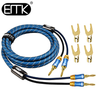 EMK Copper Speaker Wire with Gold Plated Banana Plugs Pair 1m 1.5m 3m 5m