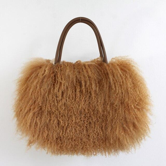 Clássico YH211 Fofo verdadeiro Mongol Fur bag Bolsa Bolsa Bolsa Das Mulheres