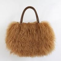 Classic Women Fluffy real Mongolian Fur bag Handbag Purse YH211