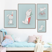Cartoon Rabbit Wall Art Canvas Painting Nordic Posters And Prints Animals Bunny Pictures Kids Room Bedroom Decor